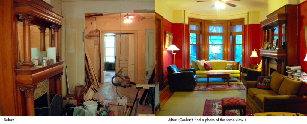brooklyn brownstone parlor, before and after renovation