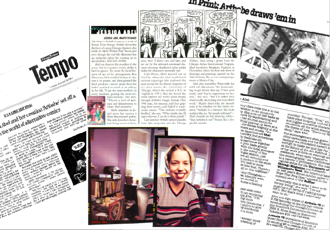 Jessica Abel in the press in 1997 for her inaugural issue of Artbabe