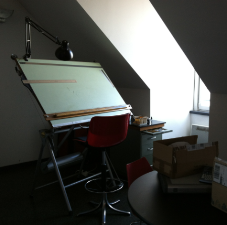 drawing table the week I arrived in France before things got rolling.