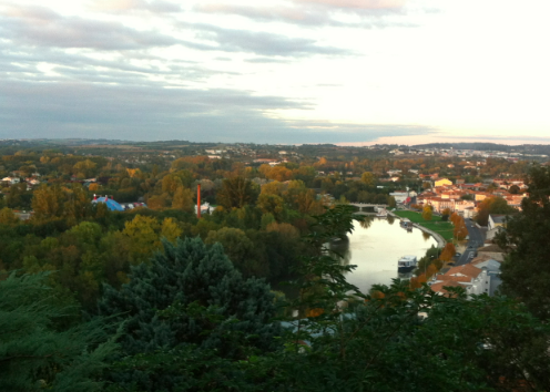 view of the Charente River from above, Angoulême, France