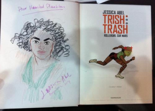 First ever dedicace in Trish Trash: Rollergirl sur Mars, for Hannibal Plankton