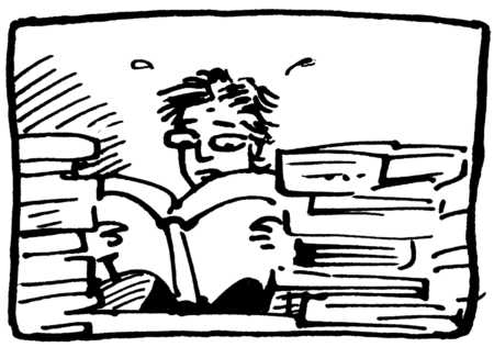 Jessica overwhelmed by books - make better comics